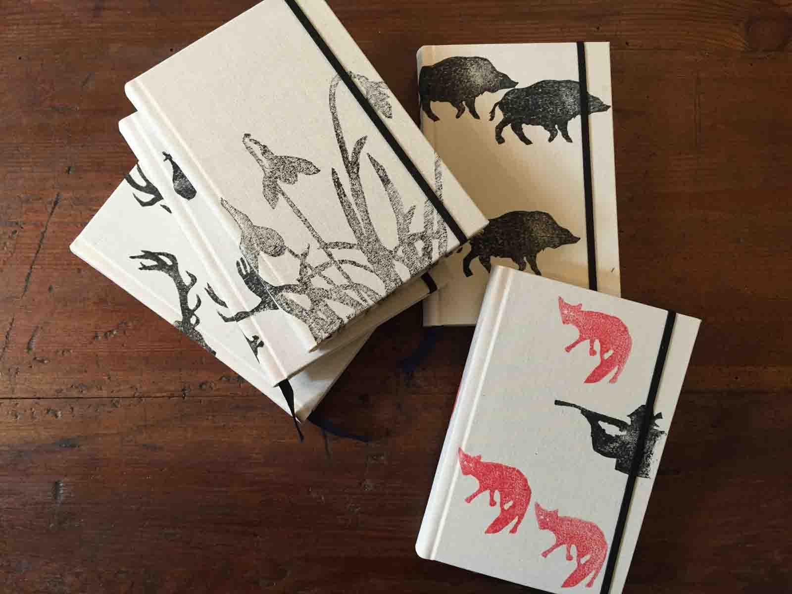 Notizbuch, Schneeglöckchen, Jagdmotive, in Deutschland handbedruckt und gebunden