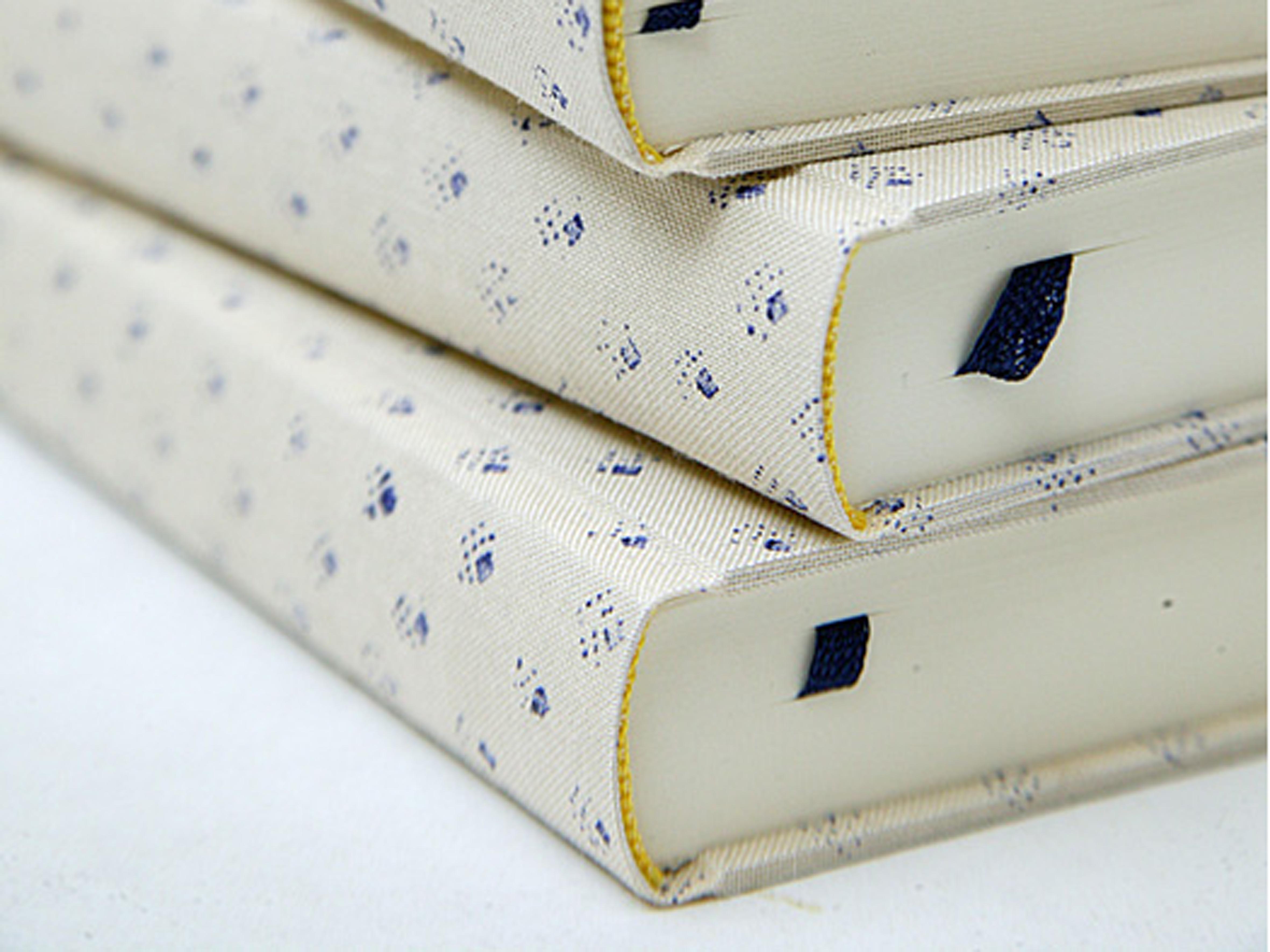 Notizbuch, Blaudruckstempel, in Deutschland handbedruckt und gebunden