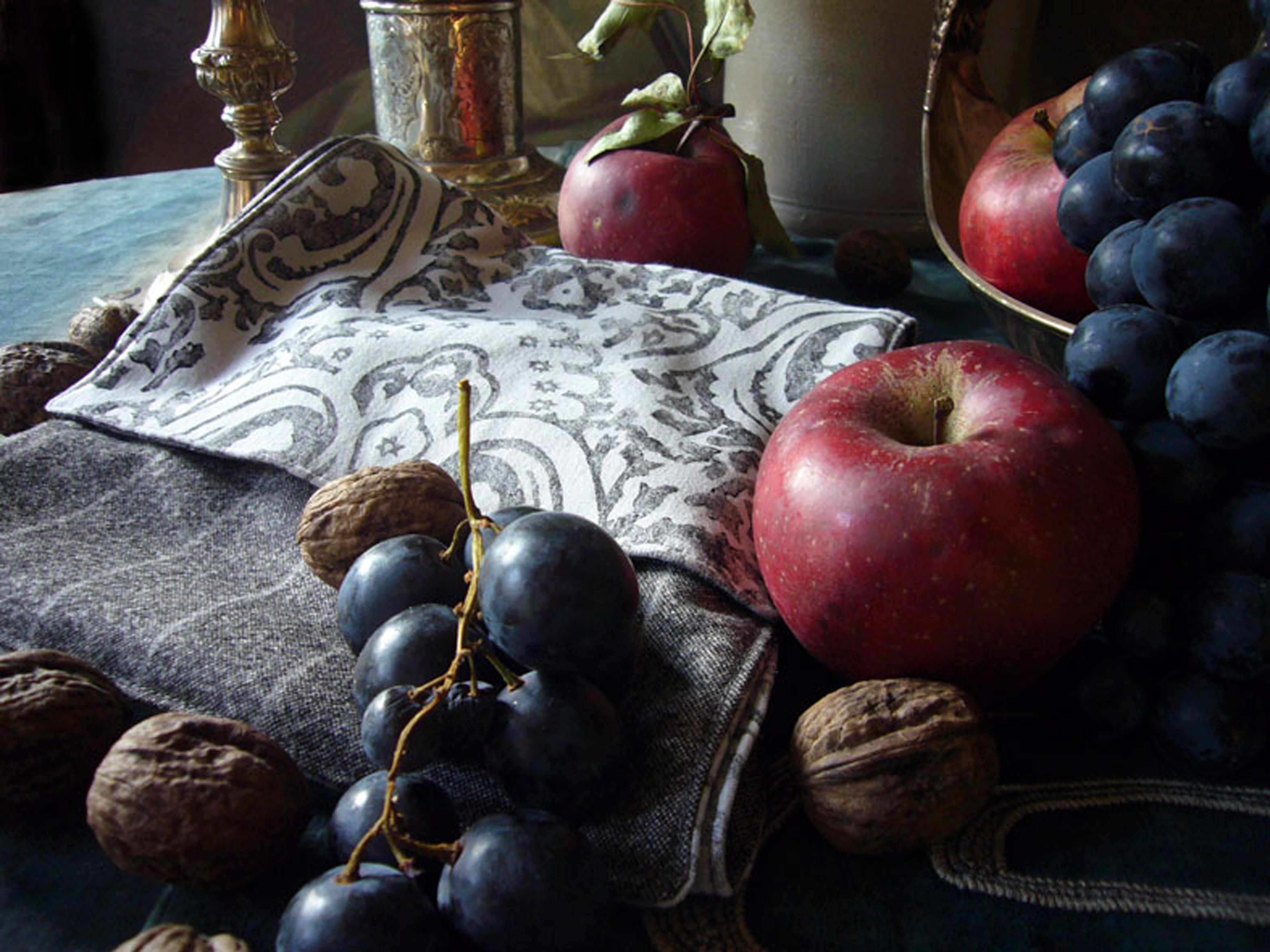 Doubleface Schal aus Wolle und Baumwolle, handbedruckt