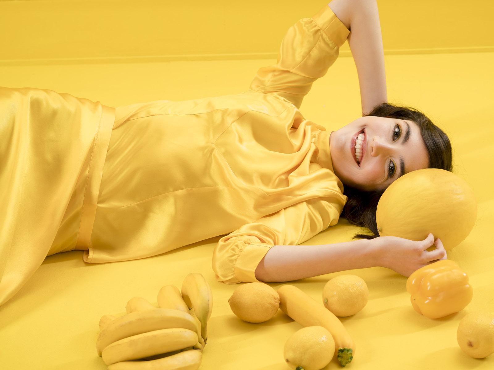 Seidenbluse Bina von meinweiß, 100% Seide, gelb