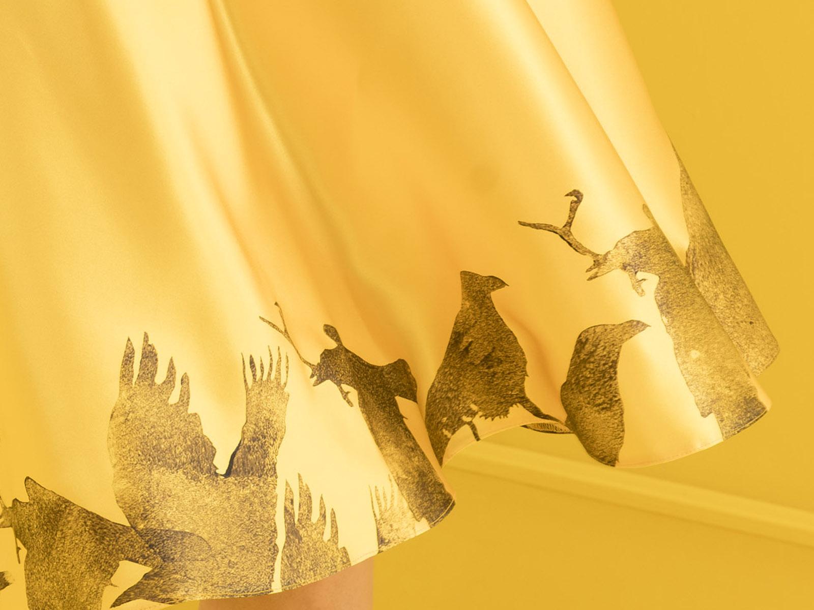 Seidenrock Reller von meinweiß, gelb, 100% Seide